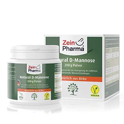 ZeinPharma D-Mannose Pulver • 200g (2 Monate Vorrat) • dietätische Behandlung gegen Blasenentzündung • Hergestellt in Deutschland