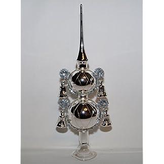 Jingle-Bells-Lauscha-Christbaumspitze-Silber-4-Glocken-30cm-hoch-Lauschaer-Handarbeit