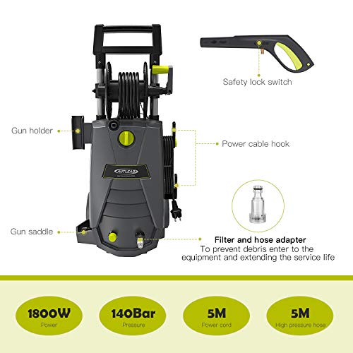 Hochdruckreiniger-Autlead-HP02A-Elektrischer-Hochdruckreiniger-mit-hoher-Pumpleistung-140-bar-468-LiterStunde-leistungsstarker-Hochdruckreiniger-mit-solidem-Griff-und-Schlauchtrommel-1800-Watt-5-m-Kab