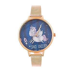 MJARTORIA-Damen-Einhorn-Armbanduhr-Analoge-Edelstahl-Mesh-Armband-Mdchen-Damen-Quarz-Uhr-Rosagold-Farbe