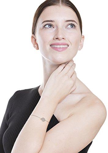 Happiness Boutique Damen Kreis Armband in Silberfarbe | Armband mit Plättchen Rund Disk Design Geometrischer Schmuck