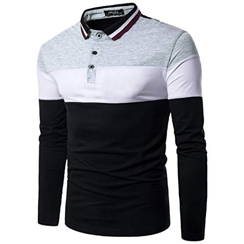 Mnner-Casual-Patchwork-Slim-Fit-Poloshirt-Langarmshirt-Muscle-Top-Bluse-Sweatjacke-Pullover-Hoodie-Sweatshirt-Jungen-Hemd-Langarm-Herbst-Freizeithemd-Bgelfrei-Kentkragen-Oberteile
