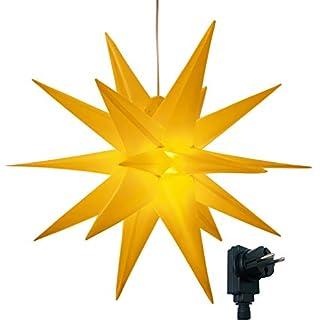 3D-Leuchtsternmit-warm-weier-LED-Beleuchtungfr-Innen-und-Auen-geeignethngend-75-m-Zuleitungca-57x44x48-cm