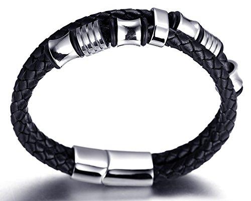 """Halukakah """"SOLO"""" Männlich Reines Leder Armband mit Titan Perlen Silber Titan Schließe mit Magnete 8,46 """"(21,5cm) mit KOSTENLOSER Geschenkpackung"""
