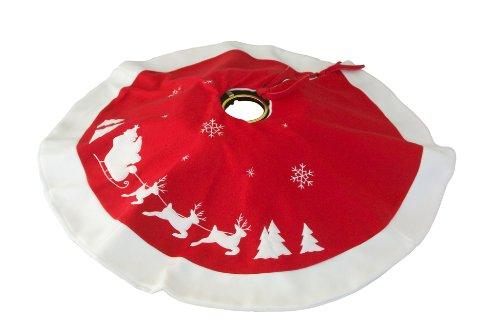 Heitmann Deco runde Filz-Baumdecke – Schutz vor Tannennadeln – Tannenbaum-Unterlage mit Weihnachtsmotiv – rot, weiß