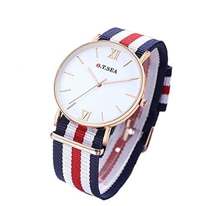 MJARTORIA-Damen-Armbanduhr-Elegant-Nylon-Armband-Studentenuhr-Analoge-Quarz-Uhr-Blau