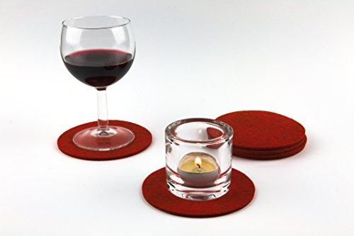 NordernArt Untersetzer rund 10cm 6er Set 100% Wollfilz Farbe wählbar, edle natur Untersetzer für Gläser Becher Tassen als Getränkeuntersetzer auf Tisch, Bar (spice)