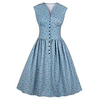 JYJM-2019-Frauen-rmelloses-Kleid-Floral-Print-Button-Vintage-Abend-Party-Swing-Kleid-Damen-Langarmshirt-Damen-Langarm-Top-Damen-Basic-V-Ausschnitt-Langarmshirt-Punkte-Casual-Elegant-Kleid