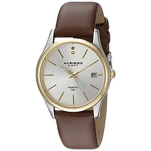 Akribos-XXIV-Damen-Lux-Analog-Quarz-Armbanduhr-mit-Leder-Armband