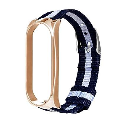Battnot-fr-Xiaomi-Mi-Band-3-Uhrenarmbnder-Sport-Luxus-Nylon-Metall-Bgel-Bracelet-Uhrenarmband-Handschlaufe-Handgelenksriemen-fr-Damen-Herren-Einstellbar-Ersatzarmband-Replacement-Wriststraps