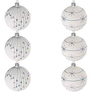 Multistore-2002-6-Stck-Weihnachtskugeln-8cm-2-Sorten-Wei-Glaskugeln-Weihnachtsbaumkugeln-Christbaumkugeln-Christbaumschmuck-Baumschmuck-Dekokugeln