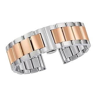 Luxuriser-Metall-Uhrenarmband-21mm-316l-massiver-Edelstahl-in-zwei-Ton-Silber-und-Rosgold-gefaltete-Schliee
