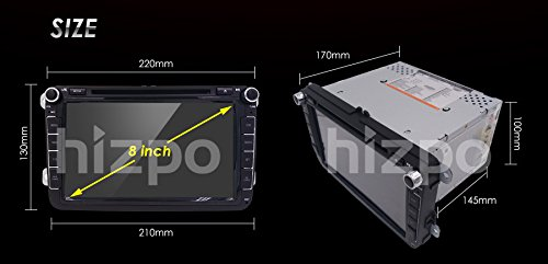 Hizpo-Car-Radio-for-VolkswagenSkodaSeatMoniceiverNaviceiver-with-GPS-NavigationBluetooth-Hands-Free-Function-8-Inch-TouchscreenDVDCD-Player-USB-and-SD2-DIN-Double-Din-Standard-Size