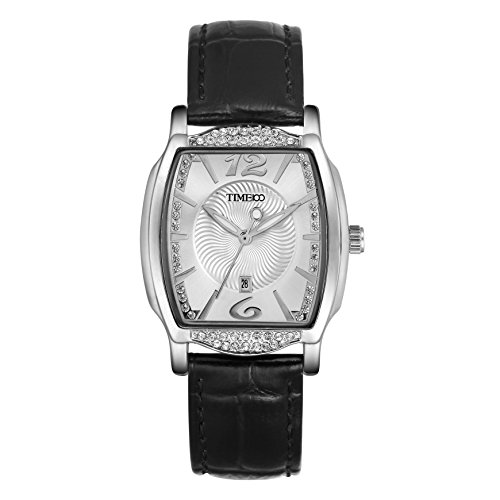 TIME100-Damenuhr-Diamant-Retro-eckig-Quarz-Leder-W50309L02A