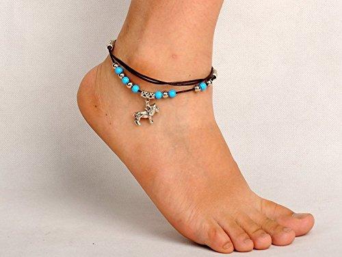 Löwe Perlen Fußkettchen Fußkette Miniblings Ethno Folklore Indien silber türkis