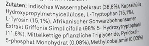 5-HTP Enhanced I VERGLEICHSSIEGER I 180mg reines 5 HTP aus Griffonia Simplicifolia Extrakt, kombiniert mit L-Tryptophan, L-Tyrosin, Tigergras & Vitamin B6,B12 I 120 Kapseln