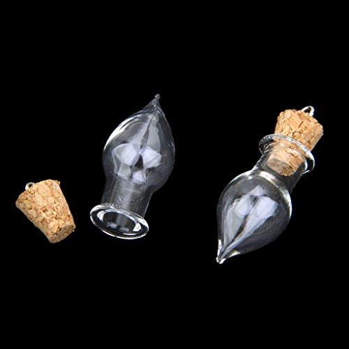 10 Glasflaschen Korken Tropfen Glaeser Durchstechflasche, Flasche DIY Anhaenger Charme