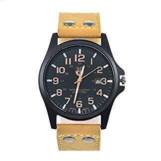RainBabe-Herren-Armbanduhr-Kalender-Leder-Sportuhr-Quarz-Uhr