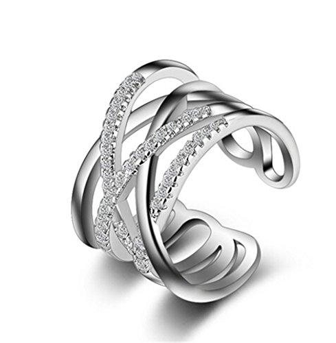 Ringe Damen Verstellbare 925 Silber Einfache Cross-Linien für Partnerringe Freundschaftsringe Knuckelringe