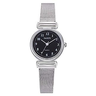 Lolamber-Armbanduhr-fr-Herren-Damen-Slim-Uhr-Armband-Mnner-Edelstahl-Geschfts-Klassisch-Analog-Quarz-Dnn-Armbanduhr-Gents-Luxus-Elegant-Silber-Uhr-mit-Schwarz-Zifferblat