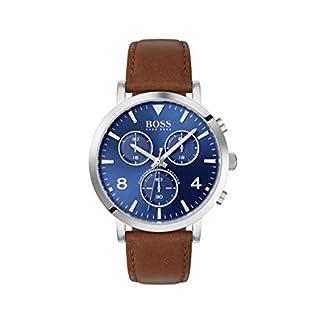 Hugo-Boss-Herren-Chronograph-Quarz-Uhr-mit-Leder-Armband-1513689