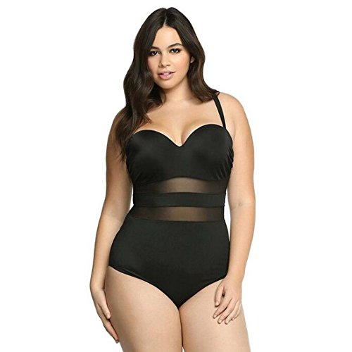 GWELL Damen Mesh Hollow Plus Size Push Up Einteilige Badeanzug Bademode Badebekleidung
