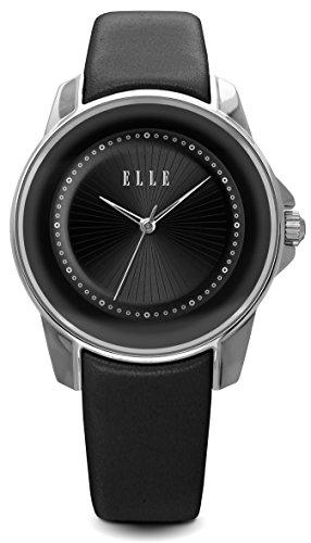 Elle-el20305s02-N–Armbanduhr-Lederband-schwarz