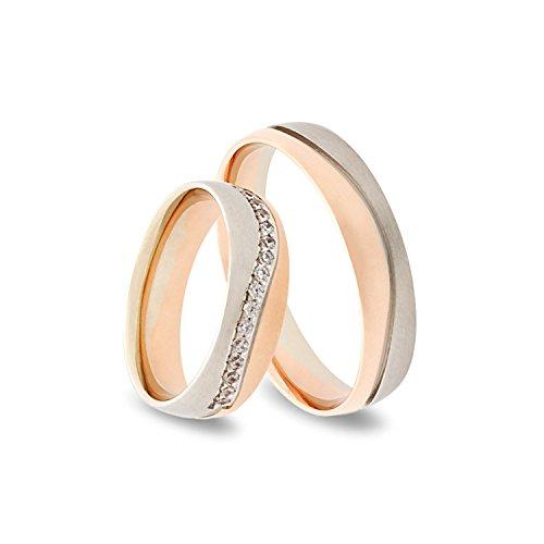 333 GOLD Trauringe im Paarpreis in Rot- und Weissgold – Rubin Juwelier- inkl Gravur und 15 Zirkonia