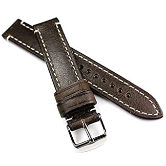 18mm-18-mm-RIOS1931-CT-XL-krftiges-Rindsleder-Military-Style-Armband-Retro-Look-quality-STRAP-dunkel-braun-Militr-Marine-Flieger-Band-Top-Qualitt