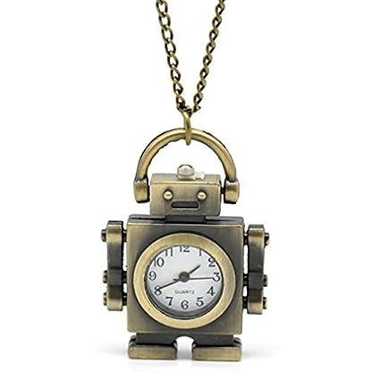 Souarts-Bronzefarbe-Roboter-Antik-Nostalgie-Design-Taschenuhr-Klassische-Vintage-Mode-Umhngeuhr-Kettenuhr