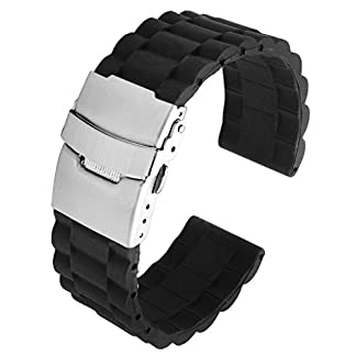 JSDDE-Schwarz-Silikon-Uhr-Armband-Wasserdicht-Taucheruhr-Band-Edelstahl-Faltschliee