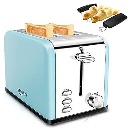 Toaster-2-Scheiben-Keenstone-Toaster-Edelstahl-Brtchenaufsatz-15-Zoll-Schlitz-825W-Automatik-Toaster-6-Brunungsstufen-Auftaufunktion-Aufwrmfunktion-Herausnehmbarer-Krmelschublade-Blau