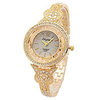Frau-Frauen-Armbanduhr-Quarz-Gold-Edelstahl-Band-SIBOSUN-Kristall-rmische-Ziffern-Analoge
