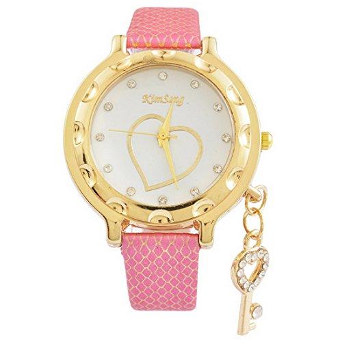 Souarts-Damen-Kunstleder-Armbanduhr-mit-Herz-Anhnger-Quartzuhr-Analog-mit-Batterie-Fuchsie