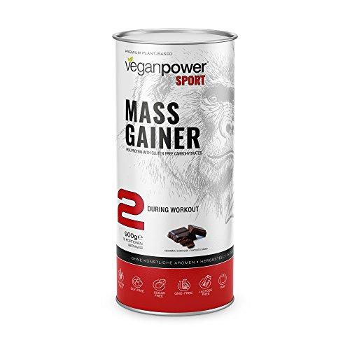 veganpower MASS GAINER – veganer Shake aus Kohlehydraten und Proteinen (Erbsen) zum Masse und Muskel-Aufbau mit Schokoladen Geschmack als Shake, 100% natürlich, 900g