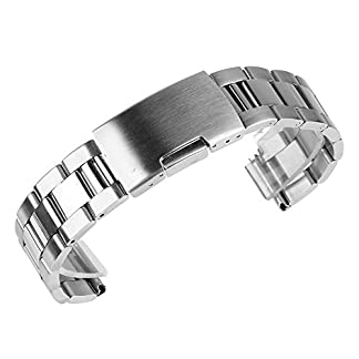 Beauty7-Unisex-Edelstahl-Uhrenarmband-Silber-mit-Faltschliee-Gerade-Ansto-Lnge-Verstellbar-mitohne-Werkzeug-WBL00059b
