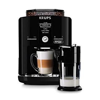 Krups-EA82FD-Kaffeevollautomat-LattEspress-Quattro-Force-mit-Aluminiumfront-One-Touch-Funktion-Milchbehlter-17-L-15-Bar-1450-W-Aluminiumschwarz