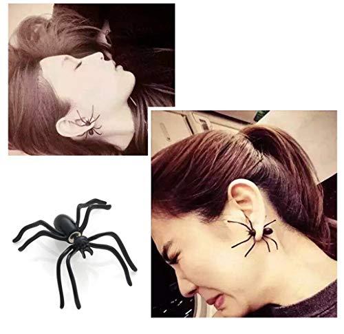 1 Paar Halloween Spinne Ohrringe Karneval Ohrstecker für Damen und Herren Schwarz