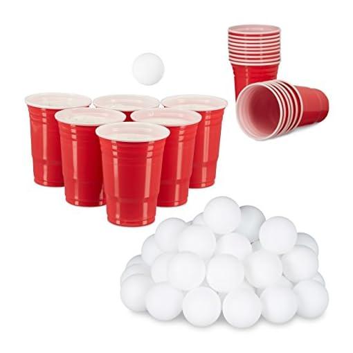 98-tlg-Beer-Pong-Set-48-Blle-38-mm-und-50-Getrnkebecher-Party-Cups-473-ml-16-oz-Trinkspiel-wei-und-rot
