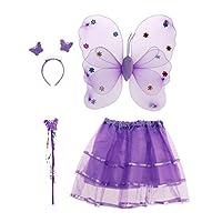BESTOYARD-4-Teile-Satz-Schmetterling-kostme-flgel-Tutu-Rock-Set-Winkel-mdchen-fee-Dress-Outfit-lila