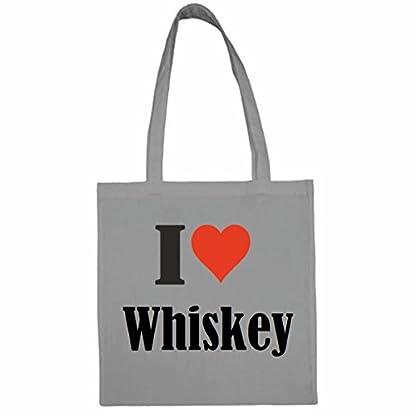 Tasche-I-Love-Whiskey-Gre-38×42-Farbe-Grau-Druck-Schwarz