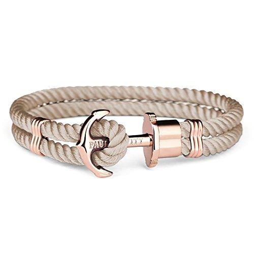 PAUL HEWITT Damen Ankerarmband PHREP aus Nylon in Hazelnut und Anker in IP Roségold Größe XS bis XXXL