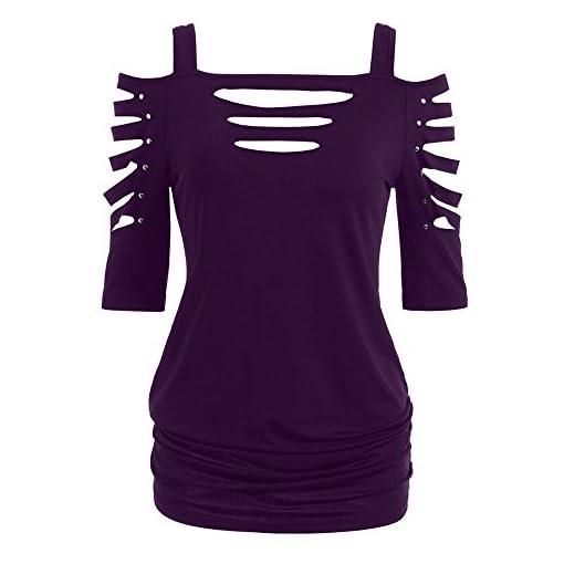 Rovinci-Damen-Sommer-Kurzarm-T-Shirt-Oberteile-Niet-Mode-Sommer-Shirt-Hemden-Einfarbig-Hollow-Out-Top-Frauen-Rivet-Bluse-34-rmel-Bluse-Casual-Tuniken-bergre-Jumper-Tops-Pullover