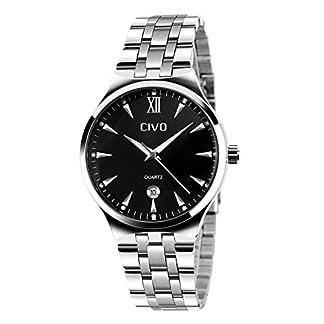 CIVO-Herren-Luxus-Edelstahlband-Business-Casual-Uhr-Mnner-Analog-Quarz-Armbanduhr-Rmische-Ziffer-Zeitlos-Einfach-Classic-Kalender-Wasserdichte-Uhren-mit-Uhrenarmband-Entferner-Werkzeug
