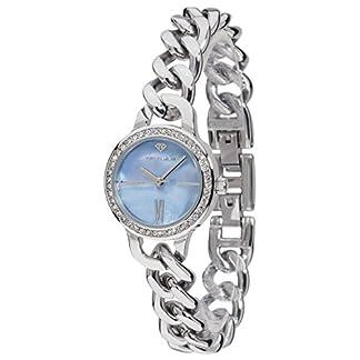 Yves-Camani-Damen-Armbanduhr-Burgaudine-mit-silbernem-Edelstahl-Gehuse-und-blauem-Zifferblatt-aus-Perlmutt-Elegante-Quarz-Damen-Uhr-mit-steinbesetzer-Lnette-und-silbernem-Edelstahl-Armband