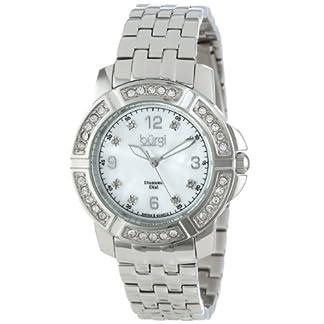 Burgi-Damen-Klassische-Edelstahl-Diamant-Armband-Armbanduhr