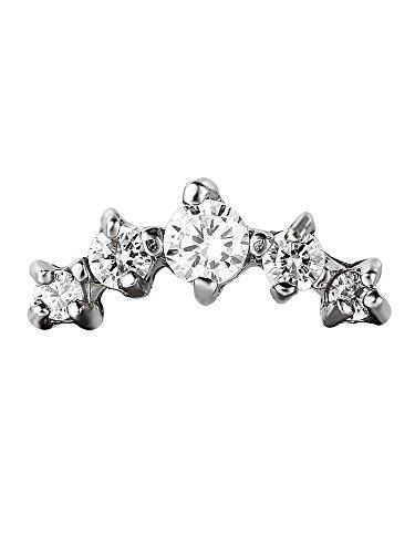 2 Stück Chirurgischer Stahl Knorpel Stud Curved CZ Stein Ohrring Tragus Helix Piercing Ohrstecker, 16 Gauge
