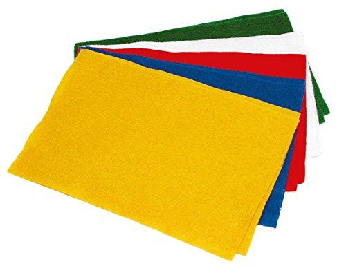 Bastelfilz Set 10 Filzplatten B 20 x L 30 cm, Stärke 1,5 mm, 5 Farben, basteln