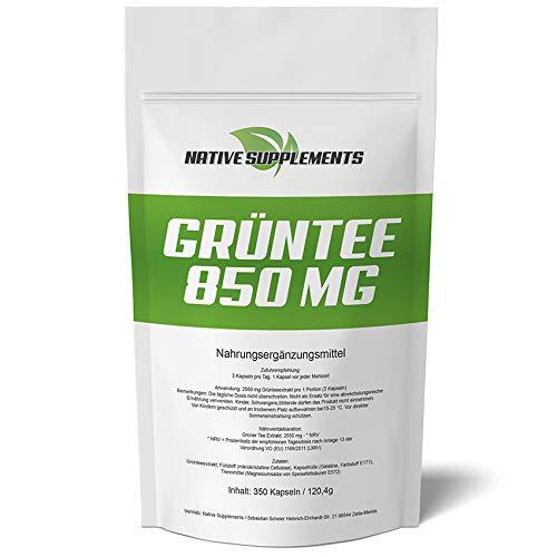 350 Kapseln Grün Tee Extrakt, 850mg Grüntee pro Kapsel – Hochdosiert, Grüner Tee, Green Tea Capsules/exclusive Qualität