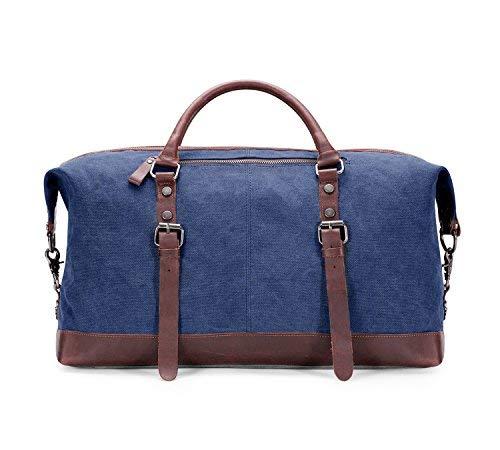 BAOSHA-HB-14-Vintage-Segeltuch-Canvas-PU-Leder-Unisex-Handgepck-Reisetasche-Sporttasche-Weekender-Tasche-fr-Kurze-Reise-am-Wochenend-Urlaub-Arbeitstasche-50-Liter-Aktualisiert